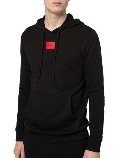 Hugo Boss  % 100 Pamuklu Regular Fit Kapüşonlu Sweat Erkek Sweat 50450471 001 Siyah